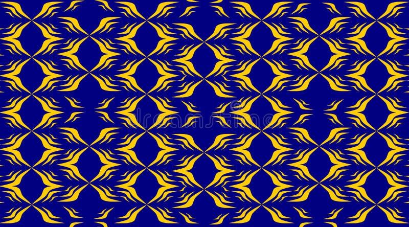 Abstrakt blå matta med gul modelldesign royaltyfri illustrationer