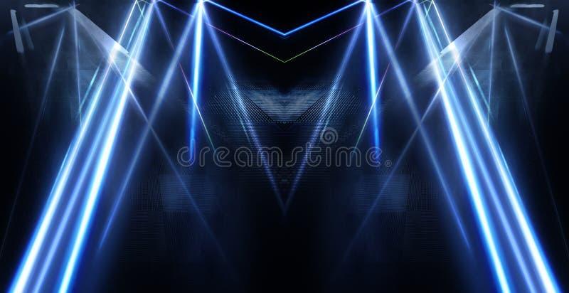 Abstrakt blå neonbakgrund med strålar och linjer arkivfoto