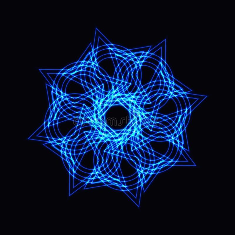 Abstrakt blå neonform, futuristisk krabb fractal av stjärnan stock illustrationer