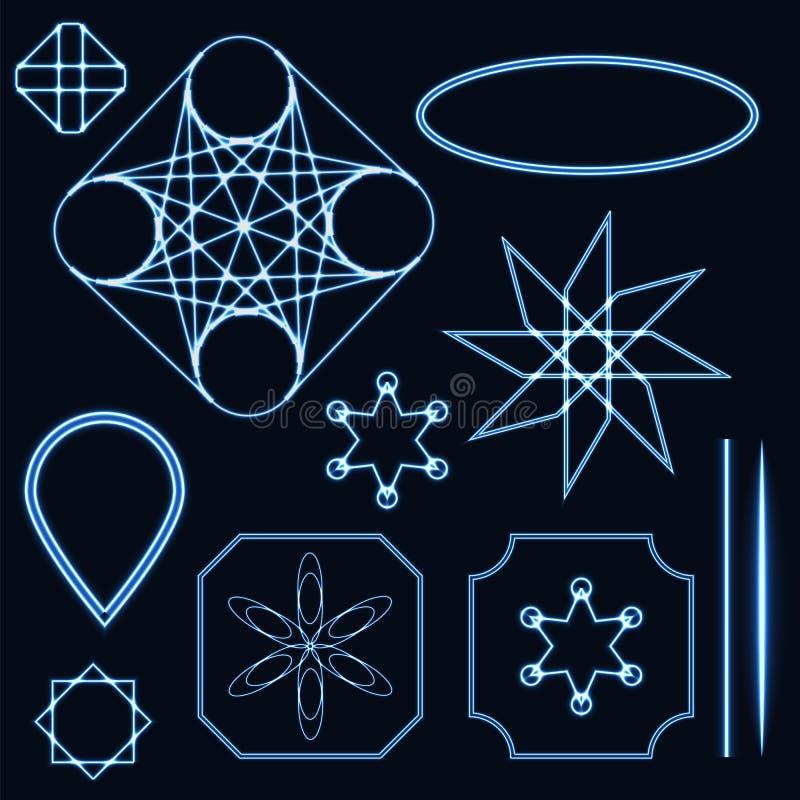 Abstrakt blå neonform, futuristisk krabb fractal av stjärnan och cirkel Kall geometrisk illustration royaltyfri illustrationer