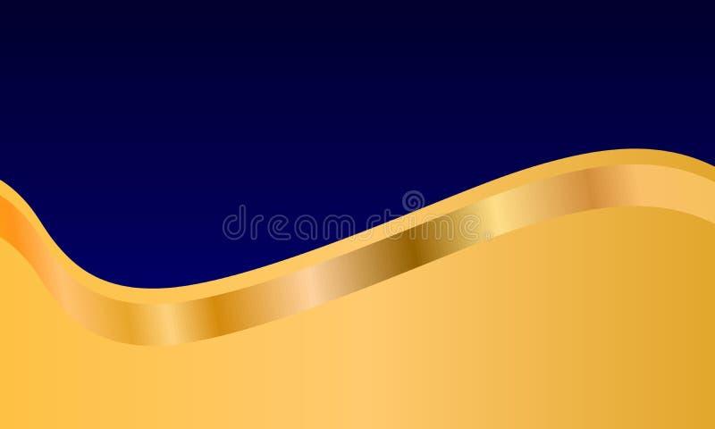 Abstrakt blå och guld- bakgrund, tapet stock illustrationer