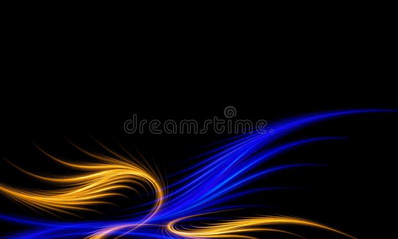 Abstrakt blå och guld- fractalbakgrund royaltyfri illustrationer