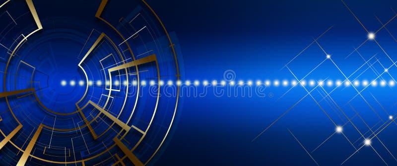Abstrakt blå och guld- teknologibakgrund, illustration vektor illustrationer