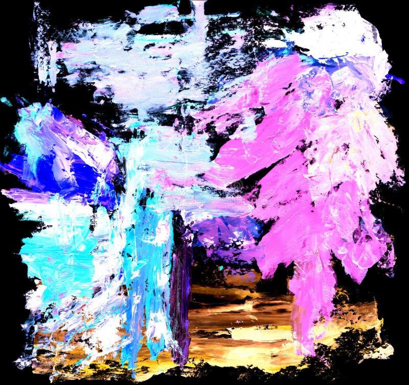 Abstrakt blå och rosa fläck på svart bakgrund vektor illustrationer