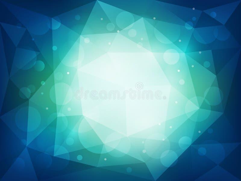 Abstrakt blå polygonal bakgrund med ljus och bokeheffekt royaltyfri illustrationer