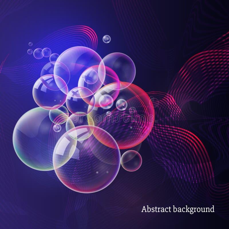Abstrakt blå purpurfärgad bakgrund med glödande linjer, blänker och stock illustrationer