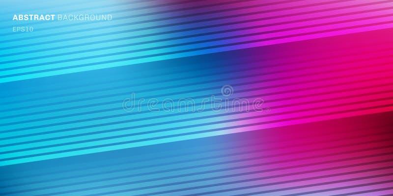 Abstrakt blå, purpurfärgad rosa vibrerande färg gjorde suddig bakgrund med diagonala linjer modelltextur Mjukt mörker som tänder  royaltyfri illustrationer
