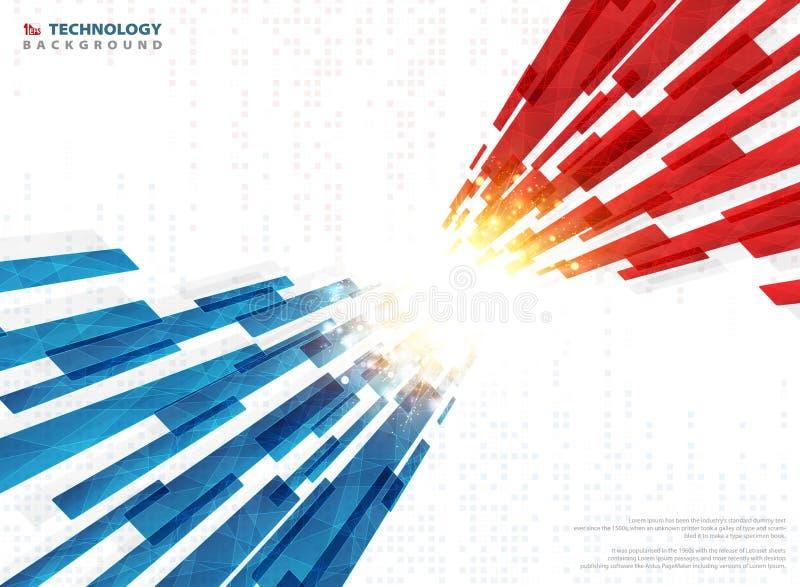 Abstrakt blå röd teknologilinje som är geometrisk med guld- ljus digital bakgrund Illustrationvektor eps10 stock illustrationer
