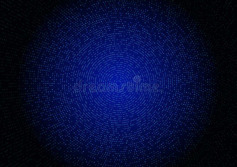 Abstrakt blå rastrerad blänka effekt med den radiella modellen för prick och glödande ljus på mörk bakgrundsteknologistil vektor illustrationer