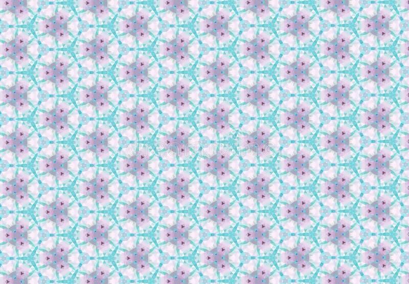 Abstrakt blå rosa tapet för blommamodell royaltyfria bilder