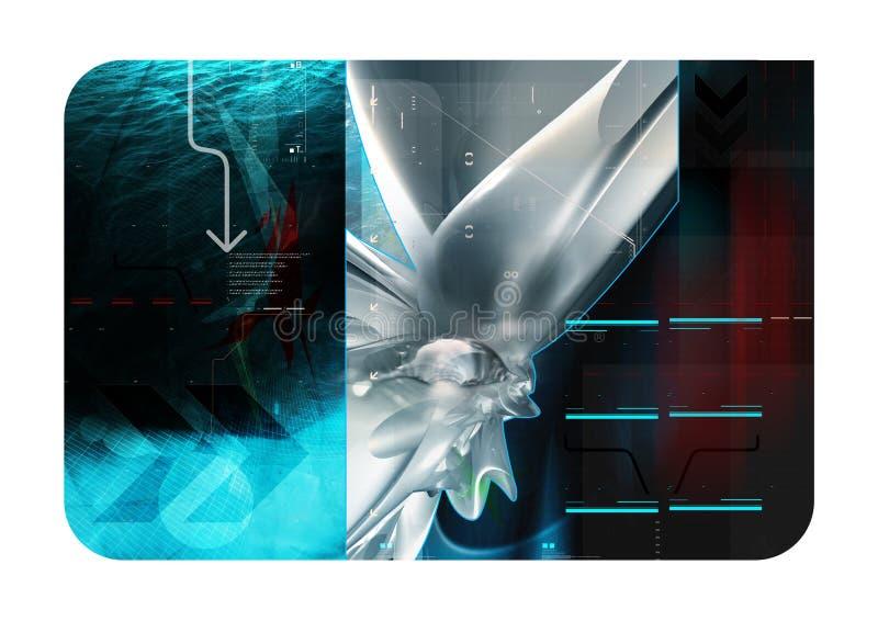 abstrakt blå sammansättning 3d stock illustrationer