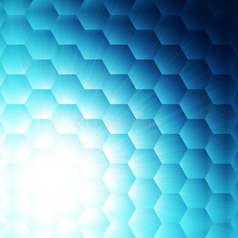 Abstrakt blå sexhörningsbakgrund royaltyfri illustrationer