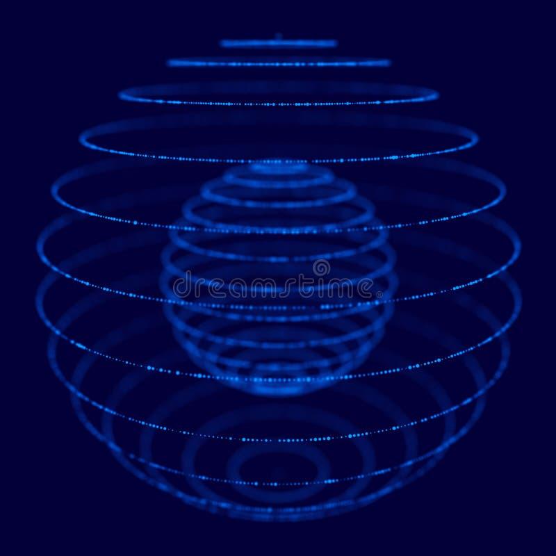 Abstrakt blå sfär som 3d göras av punkter Futuristisk teknologistil Sf?rpartiklar Plexuseffekt framf?rande 3d royaltyfri illustrationer