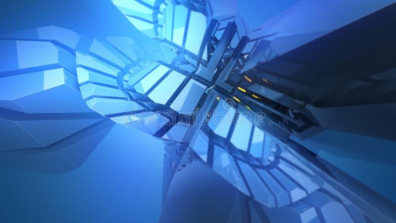 Abstrakt blå skinande plast- tredimensionell form vektor illustrationer