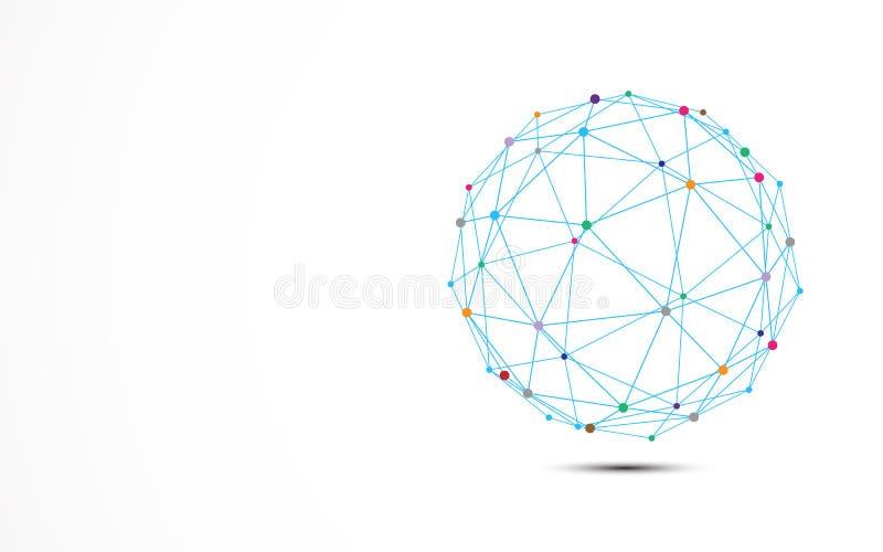 Abstrakt blå trådram med färgrik prickanslutningsknutpunkt Teknologi- och vetenskapsbegrepp stock illustrationer