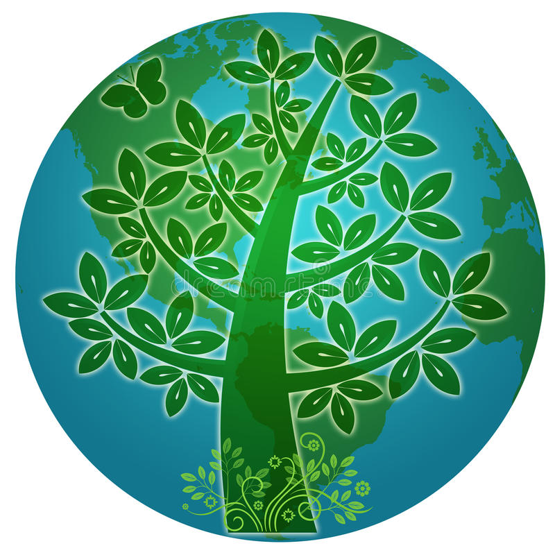 abstrakt blå tree för ecoplanetsilhouette stock illustrationer