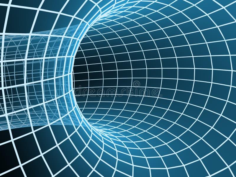 abstrakt blå tunnel för raster 3d royaltyfri illustrationer