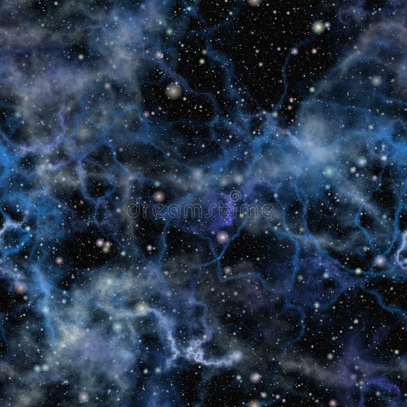 Abstrakt blått universum seamless illustrationrep vektor illustrationer