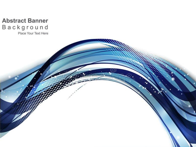 Abstrakt blått vinkar bakgrund med gurnge vektor illustrationer
