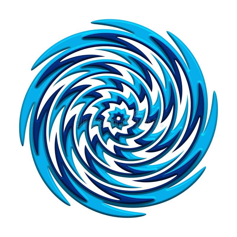 Abstrakt blått virvelsymbol royaltyfri illustrationer