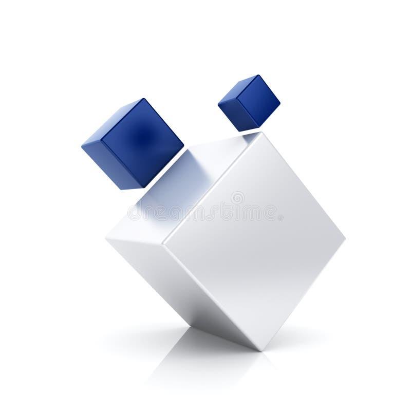 Abstrakt blåttaffärssymbol med 3 kuber royaltyfri illustrationer