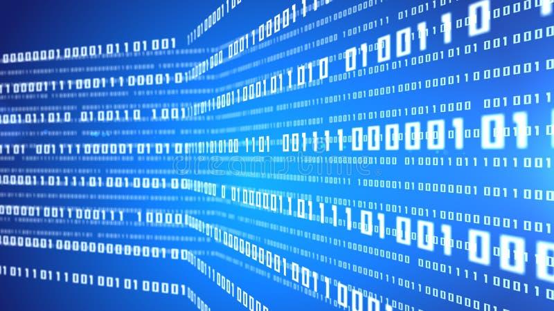 Abstrakt blåttbakgrund för binär kod royaltyfri illustrationer