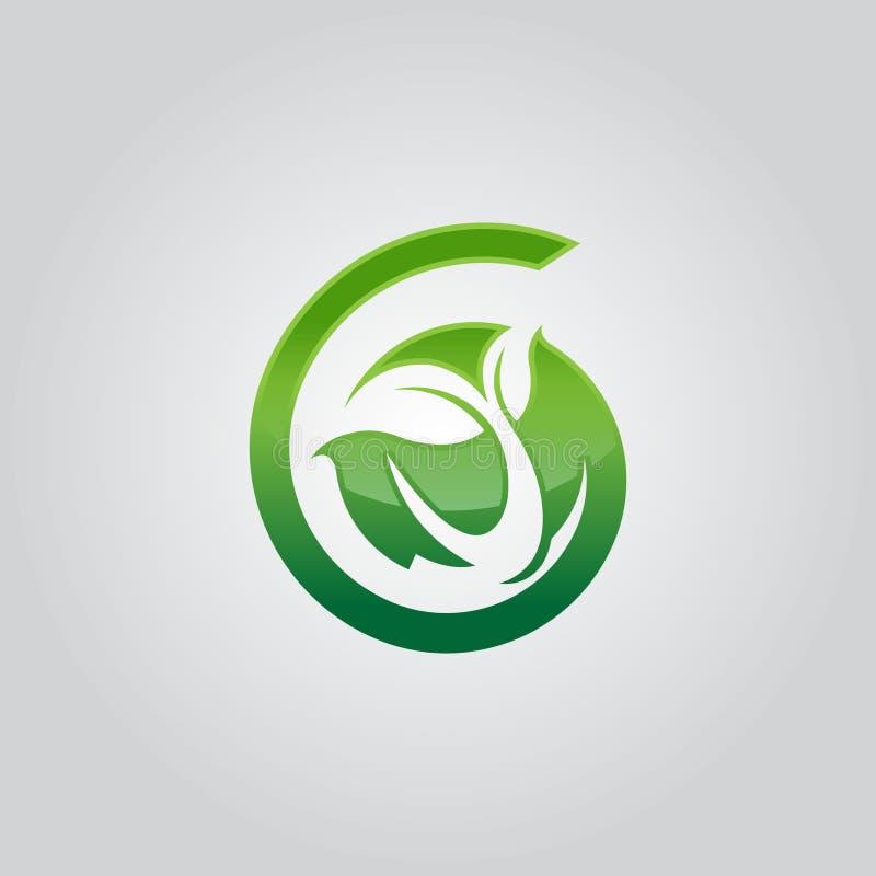 Abstrakt blad för gräsplan för symbol för spiral för cirkel för logosymbolsdesign vektor illustrationer