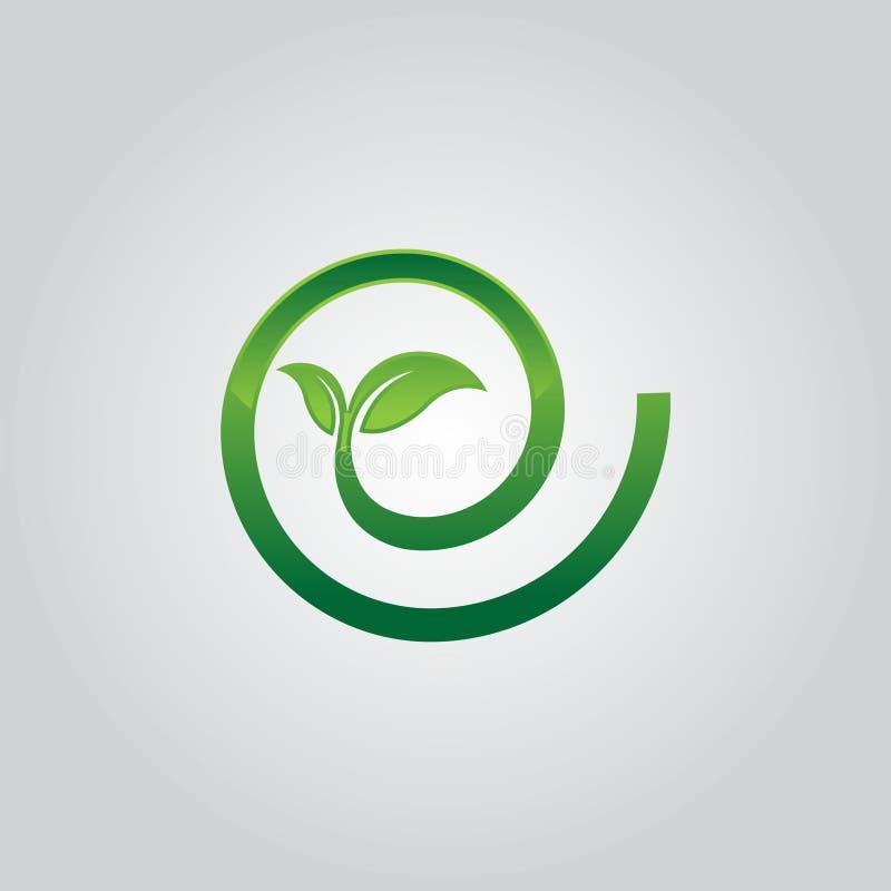 Abstrakt blad för gräsplan för symbol för spiral för cirkel för logosymbolsdesign royaltyfri illustrationer