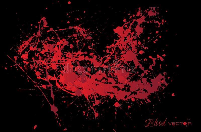 Abstrakt blod plaskar isolerat på svart bakgrund, des stock illustrationer