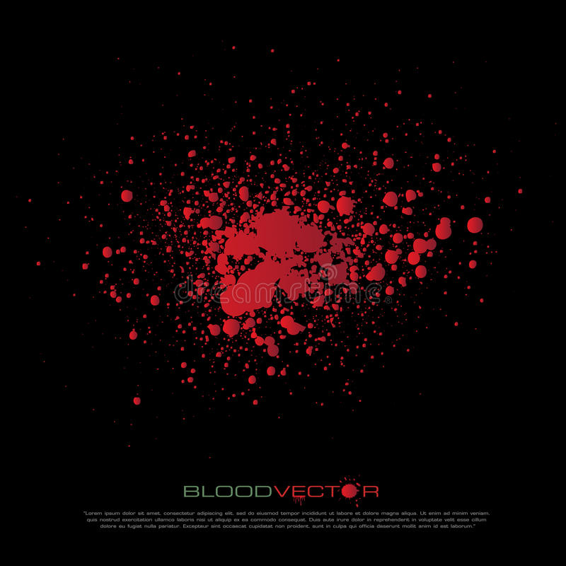 Abstrakt blod plaskar isolerat på svart bakgrund, des royaltyfri illustrationer