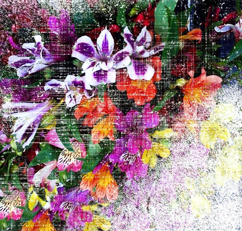 Abstrakt blom- bakgrund med den stiliserade buketten av liljan på grunge gjorde randig den skrapade bakgrunden vektor illustrationer