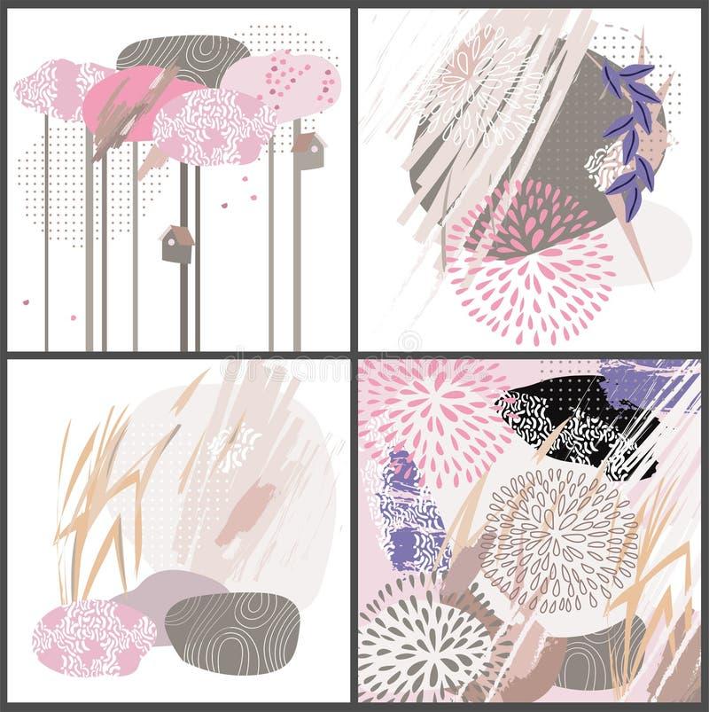 Abstrakt blom- beståndsdelpappersJapan collage stock illustrationer