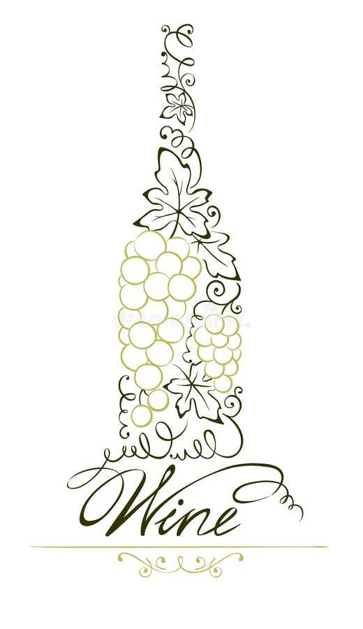 Abstrakt blom- flaska för vitt vin vektor illustrationer