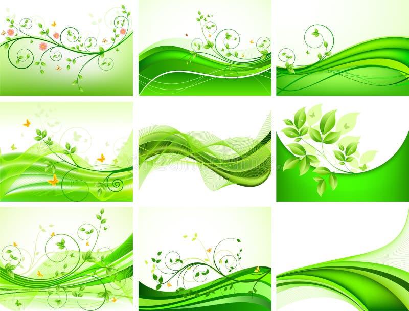 abstrakt blom- greenset stock illustrationer