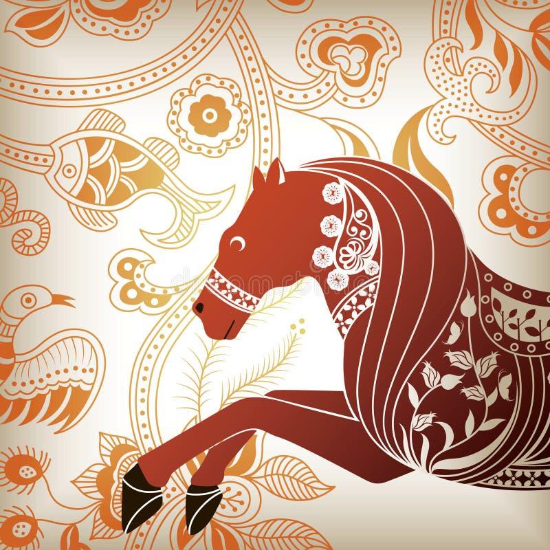 abstrakt blom- häst royaltyfri illustrationer