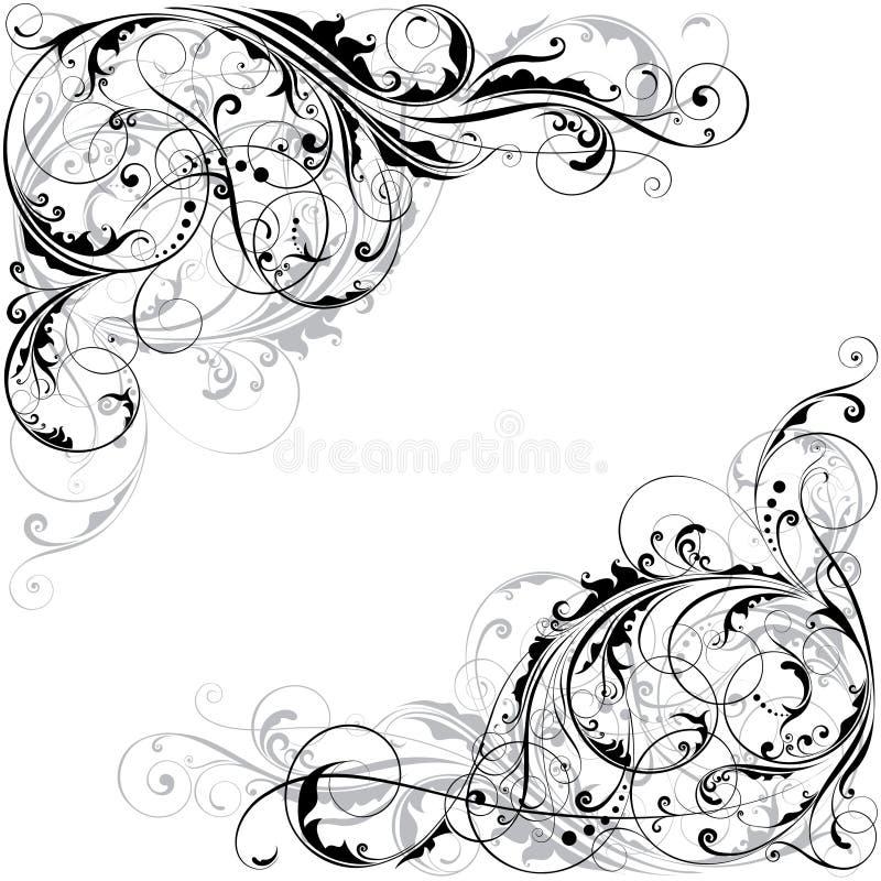 Abstrakt blom- hörndesign vektor illustrationer