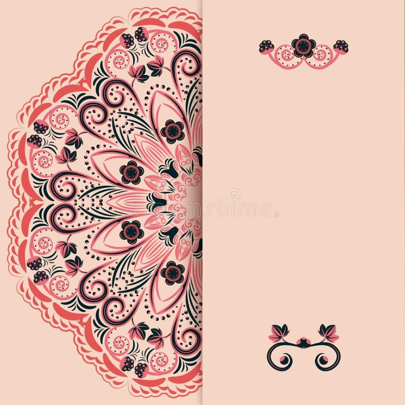 Abstrakt blom- lyckönsknings- bakgrund i orientalisk stil Utrymme för text vektor illustrationer