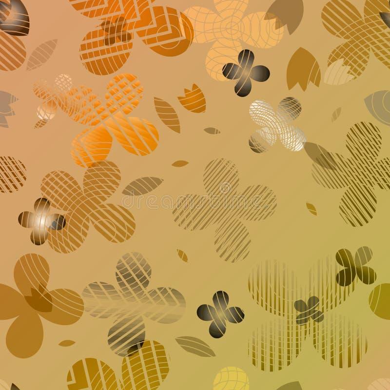 Abstrakt blom- modell i orange och brun ton vektor illustrationer
