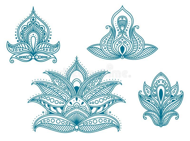 Abstrakt blom- perser och indier stock illustrationer