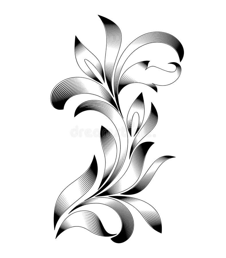 Abstrakt blom- prydnad med krullade sidor Inrista stil stock illustrationer