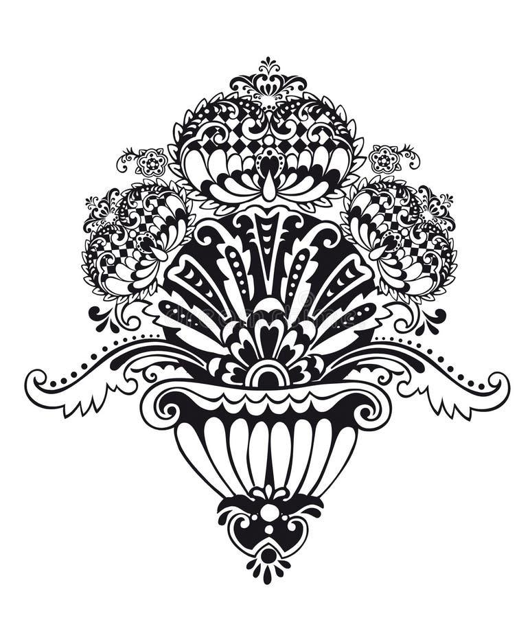 abstrakt blom- prydnadvektor royaltyfri illustrationer