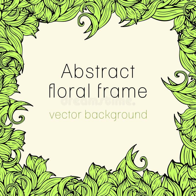 Abstrakt blom- ramväxt, grönsakbakgrund, räkning, kort, inbjudan, baner av färgrik scrollwork växter, gräs, sidor royaltyfri illustrationer