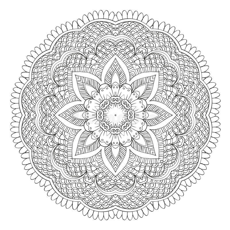 Abstrakt blom- rund mandala stock illustrationer