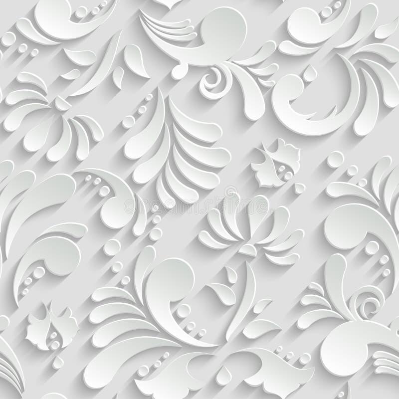 Abstrakt blom- sömlös modell 3d vektor illustrationer
