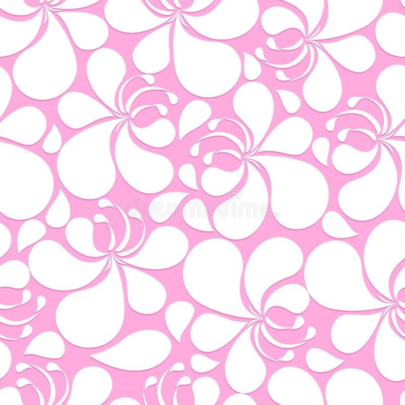 Abstrakt blom- sömlös modell för rosa färg- och vithibiskus vektor illustrationer