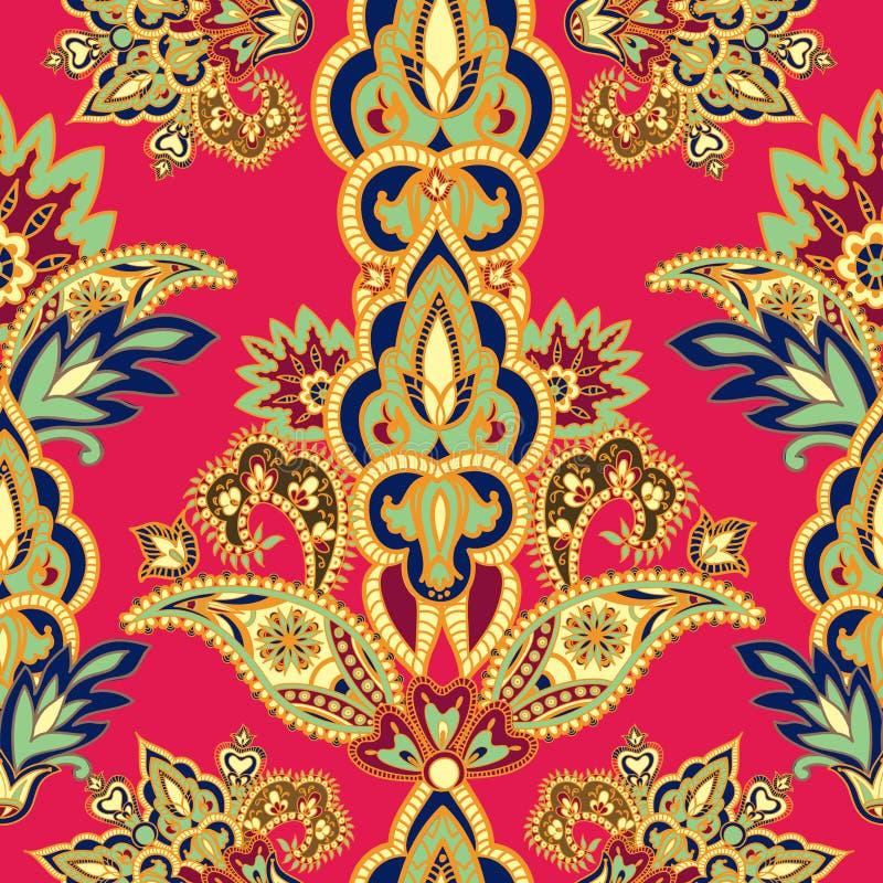 Abstrakt blom- sömlös tappningbakgrund Orange krusidull vektor illustrationer
