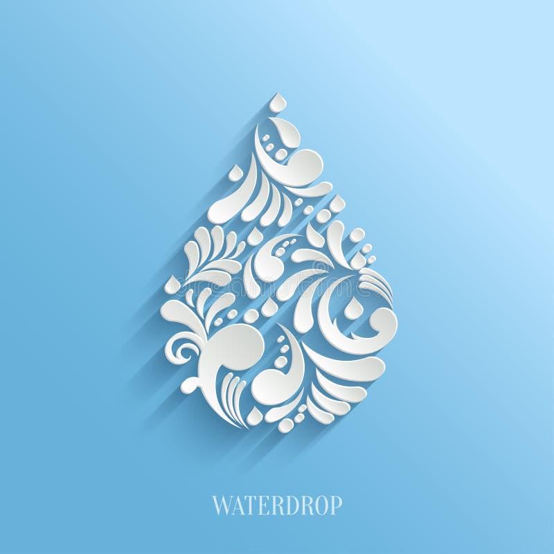 Abstrakt blom- vattendroppe på blå bakgrund stock illustrationer