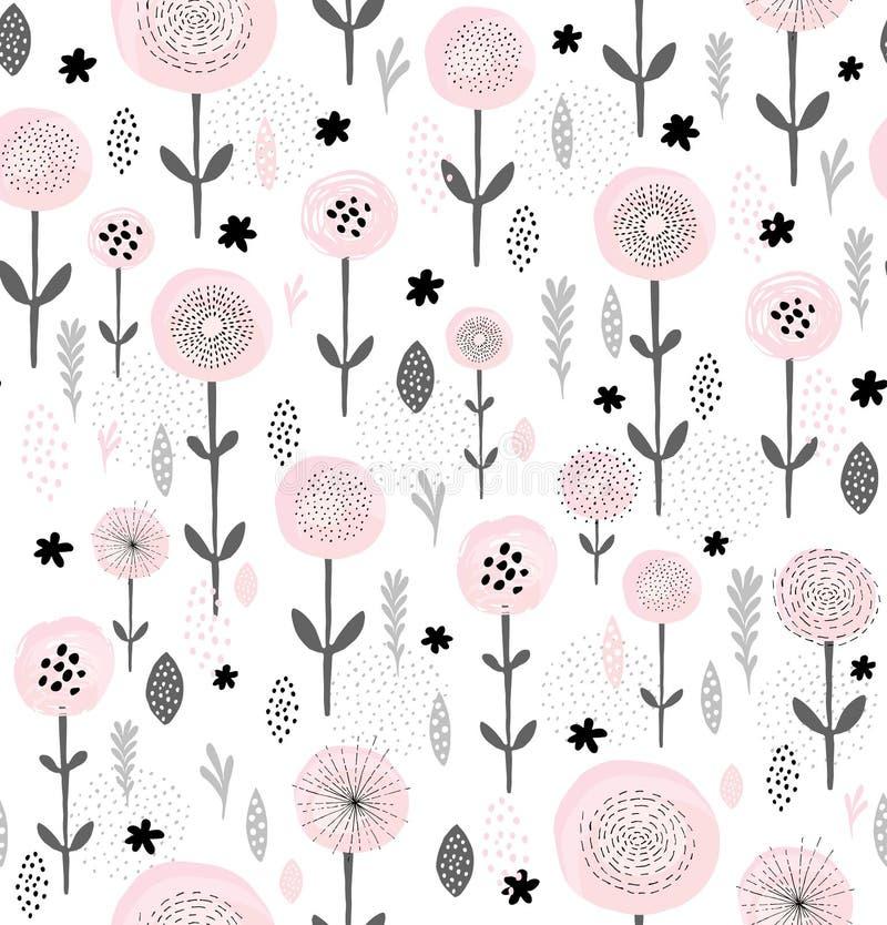 Abstrakt blom- vektormodell Rundan borstade rosa färgen blommar med svarta beståndsdelar Svart och Grey Branches, lämnar och fatt royaltyfri illustrationer