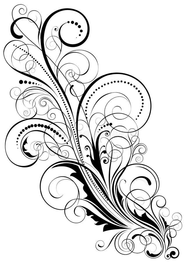 Abstrakt blom- virveldesign stock illustrationer