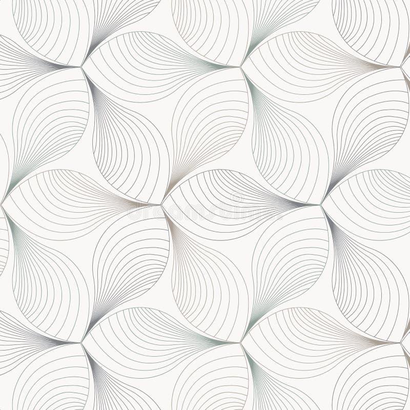Abstrakt blomma- eller floravektormodell som upprepar den linjära kurvan på kronblad, rengöringdesign för tapeten, tyg, målarfärg royaltyfri illustrationer